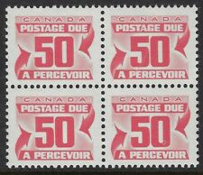 """Scott J40: 50c Red Due, block of 4 with """"hole in 0"""" variety on LR, NH"""