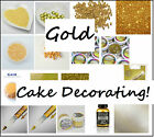 GOLD Themed Cake Decorating Sugar Balls Sprinkles Paints Pens Cupcake Cases