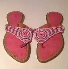 🍀Lds Sz 7.5 Pink Leather Handmade Thongs Slides Beaded Detail  Pointed Toe New