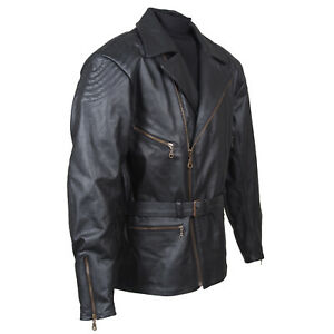 Schwarze, klassische Lederjacke klassische im Stil der 70er - RO222