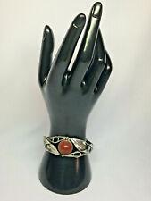 Sterling Silver Red Sponge Coral Leaf Design Bracelet