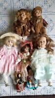 Lotto bambole in porcellana + 2 regionali vintage MAGIS