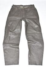 "Vintage Grey Leather Straight Leg Women's Trousers Pants Jeans Size W30"" L29"""
