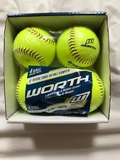 Worth 4 Pk 12 Inch Slow Pitch Official League Yellow Color.