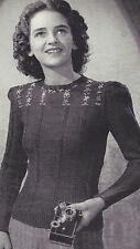 Vintage Knitting PATTERN to make 40s Girls Teens Pullover Sweater Embroider Yoke
