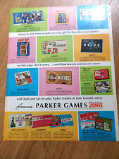 1968 Parker Brothers Game Ad  Monopoly Avalanche Hip Flip Sorry Ouija Clue