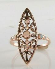 LONG ART DECO INS 9CT 9K ROSE GOLD FIERY OPAL & DIAMOND RING FREE RESIZE