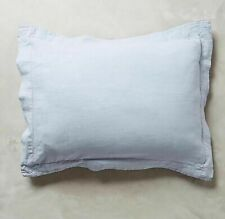 New Anthropologie SOFT WASHED LINEN Two KING Shams SKY Blue