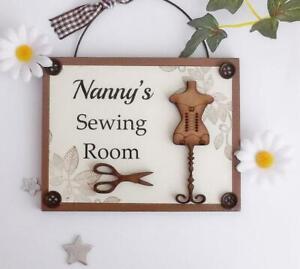 Nanny's Sewing Room Wooden Plaque Door Hanger