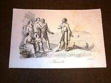 Incisione rame del 1851 Tommaso Aniello d'Amalfi Masaniello Rivolta Napoli 1647