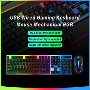 Tastiera e Mouse Wireless USB LED RGB Arcobaleno Gioco per PC Laptop