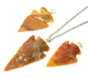 Arrowhead Necklace Carved Red Jasper Pendant W10 Healing Crystals And Stones