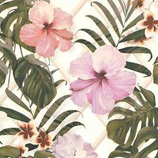 Beautiful Hawaiian Flowers Tropical Leaves Wallpaper - 10m Roll