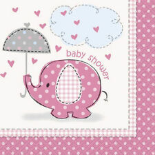 Umbrella Elephant Pink GIrl Baby Shower Party Beverage Napkins