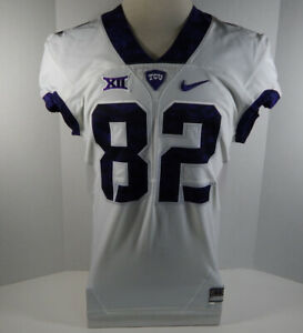 2015-18 Texas Christian Uni TCU Horned Frogs #82 Game Issued White FB Jersey 950