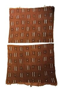 "African Chocolate & Ivory Mud Cloth Textile Mali  60"" by 40"" Set of 2"