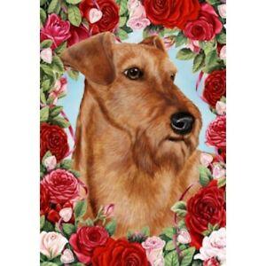 Roses Garden Flag - Irish Terrier 192201