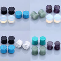 3 Pairs Organic Stone Saddle Flared Ear Tunnels Plugs Expander Stretcher Earlets