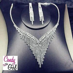 Luxury Austrian Crystal Diamante Tassel Drop Necklace And Earrings Jewellery Set