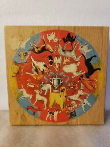 WOODEN Springbok Puzzle Prize Dogs WOOD Shelfer Collection COMPLETE '66 Ex Cond!