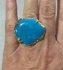 Genuine Kingman Turquoise & White Topaz Sterling Silver 14kt Plated Ring Size 6