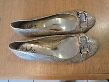 Solos by Softspots Women's Tan Snakeskin synthetic Ballet Flat Loafer Size 9.5M