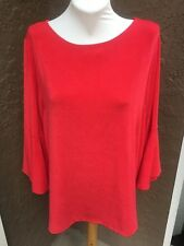 New $89 RARE Chico's Travelers Chinese Red Ruffle Sleeve Top Sz 3 = XL 16 18 NWT