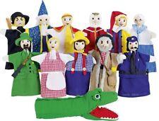 Handpuppen-Set Kasperlefiguren Handpuppen 12 Stück Textil mit Holzköpfen XL NEU