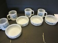 LOT 8 GlasBake Blue Onion Milk Glass 4 Mugs & 4 bowls Old Town Opaque Vintage