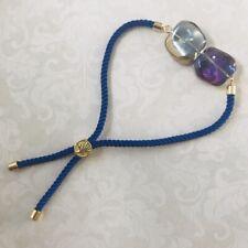 Blue Cord Bracelet With Lampwork Czech Glass Irregular Beaded Bar