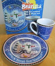 Starbucks Bearista Christmas Milk Cookies For Santa Mug Plate Set Snowman 2000