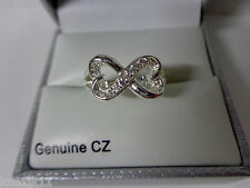 NEW City Rox Silver Tone Cubic Zirconia CZ Ladies 2 Hearts BOW RING Size 6 NIB!