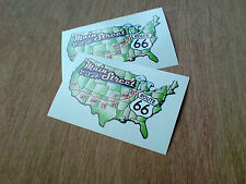 ROUTE 66 Main Street Classic Retro Car Motorhome Stickers Decals 2 off 90mm