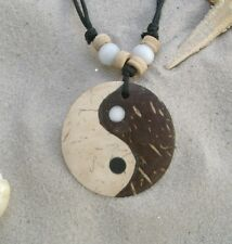 NEW CHINESE YIN YANG SYMBOLIC BROWN WOODEN NECKLACE MEANING HARMONY  / n055gy