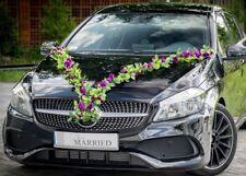 Brautauto Autoschmuck Hochzeitsauto Autodeko Autogirlande Türschleifen Lila