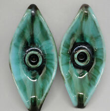 Blue Mountain Pottery Banana Boat Leaf Taper Candle Holder x 2 BMP Canada c1970s