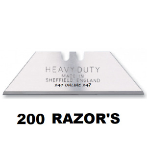 200 Heavy Duty Stanley   Super Sharp  Razor Blades  Made In Sheffield