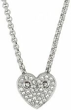 NEW FOSSIL SILVER TONE,CRYSTAL PAVE HEART CHARM,CHAIN NECKLACE JF02268040
