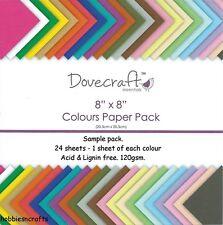 DOVECRAFT ESSENTIALS COLOURS PLAIN PAPER PACK - 8 x 8 SAMPLE PACK  - 24 SHEETS