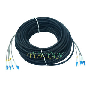 150M Field Outdoor LC-LC UPC 4 Strand 9/125Single Mode Fiber Patch Cord DHL Free