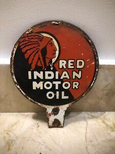 Red Indian Motor Oil Porcelain Enamel Sign