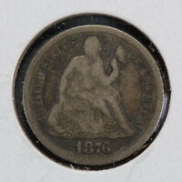1876-S 10c SEATED LIBERTY DIME, NICE FINE DETAIL LOT#N545