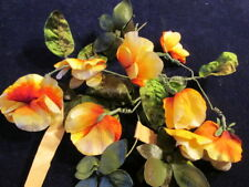 "Vtg Shabby Millinery Flower Collection Yellow Orange 1 1/2-2"" Sweet Pea H2382"