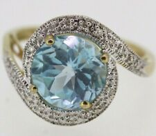 9ct Yellow Gold Sky Topaz & Diamond Ring Size O