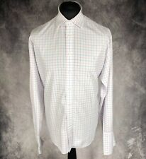 """Yves Saint Laurent YSL Pour Homme White Blue Pink Check Long Sleeve Shirt 50"""" Ch"""