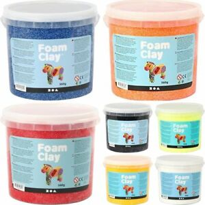 Foam Clay 560g Tubs - Red Yellow Blue Green - Modelling Craft For Kids & Adults