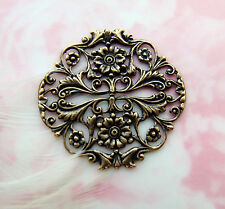 Stamping ~ Jewelry Finding (Fb-6107) Antique Brass Filigree Crest Floral Flower