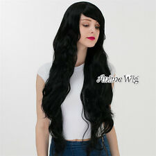 90CM Daily Women Natural Black Lolita Long Curly Cosplay Daily Wig With Bangs