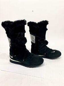 Nike Faux Fur Trim Suede Snow Boots Black/Silver (311959-002) Women's 10 US