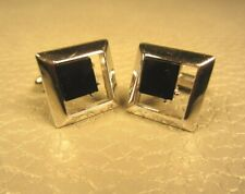 Mid Century Modern Picture Frame Onyx White Gold Plated Cuff Links